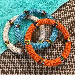 Lot of 3 Vintage Custom Made Seed Bead Bracelets